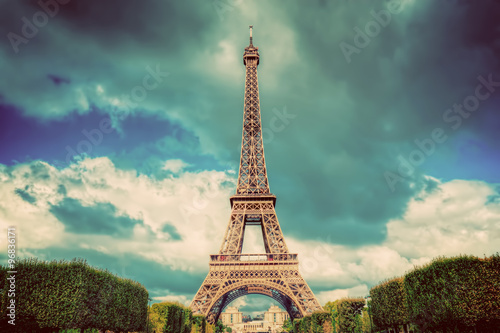 Eiffel Tower seen from Champ de Mars park in Paris, France Poster