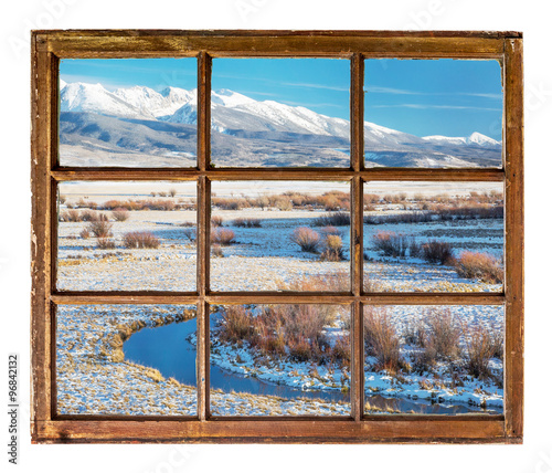 Fototapeta window view on a mountain river