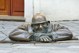 Cumil the Peeper sculpture, also known as The Watcher or Man at Work, in Bratislava, Slovakia