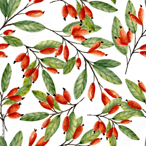 Fototapeta Seamless pattern with branches and berries, Watercolor hand drawn