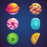 Fototapety Set of multi colored jelly sweets