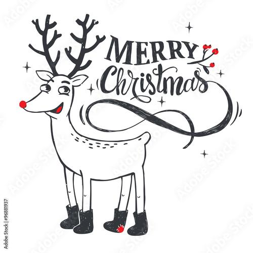 Naklejka Merry Christmas illustration.