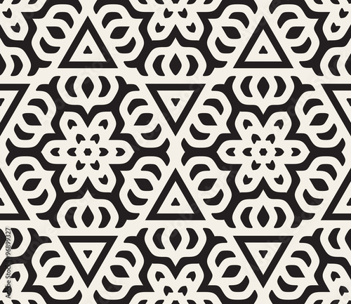 Vector Seamless Black and White Rounded Star Floral Oriental Line Pattern - 96899327