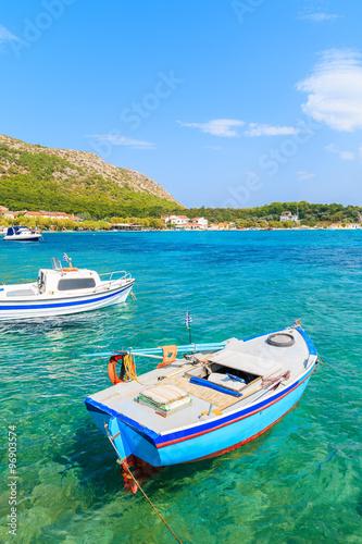 Aluminium Greek fishing boats on turquoise sea water in Posidonio bay, Samos island, Greece