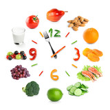 Fototapety Food clock with healthy food