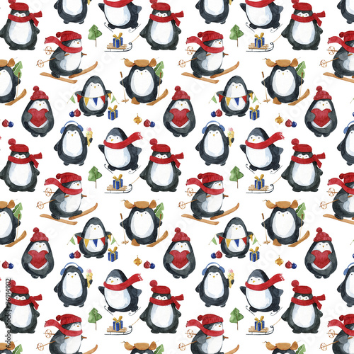 Materiał do szycia Seamless watercolor pattern.Cute little penguins preparing for Christmas.