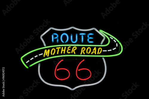 Poster Neon sign Route 66 USA. Another  of incr