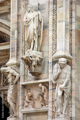 Foto op Canvas Milan Details on Duomo cathedral in Milan, Italy