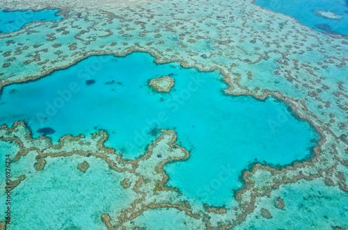 Foto op Canvas Groene koraal Great Barrier Reef - Aerial View