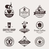 Fototapety Set of Vector Coffee Shop Labels, Icons and Design Elements