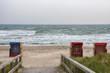 Leinwanddruck Bild - Strandübergang im Ostseebad Dahme in herbstlicher Stimmung, Ostholstein, Deutschland
