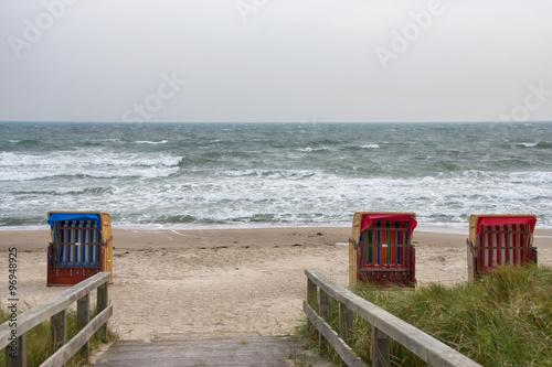 Leinwanddruck Bild Strandübergang im Ostseebad Dahme in herbstlicher Stimmung, Ostholstein, Deutschland
