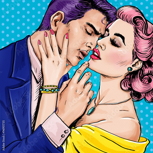 Love couple.Pop Art Couple.Pop Art love. Valentines day postcard. Hollywood movie scene. Love Pop Art illustration Pop Art love. Valentines day postcard. Real love. Movie poster. Comic book love. male - 96951735