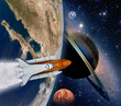 Shuttle rocket ship launch solar system astronomy saturn planet moon space. Elements of this image furnished by NASA.