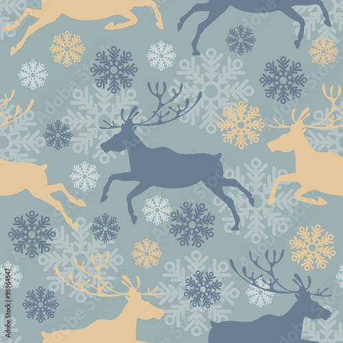 Materiał do szycia Cute Merry Christmas seamless pattern with reindeers and snowflakes. Vintage vector illustration.