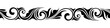 Calligraphic vintage horizontal seamless vignette on a white background.