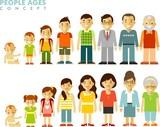 lidé generace v různých věkových kategorií v plochém stylu