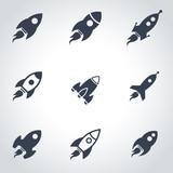 Fototapety Vector black rocket icon set. Rocket Icon Object, Rocket Icon Picture, Rocket Icon Image - stock vector