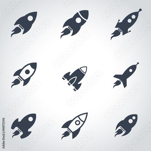Fototapeta Vector black rocket icon set. Rocket Icon Object, Rocket Icon Picture, Rocket Icon Image - stock vector