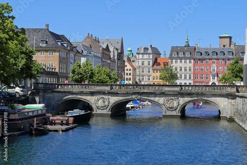 Poster Copenhague, canal dans la vieille ville, Danemark