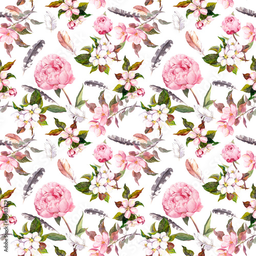 Peony flowers, sakura, feathers. Repeating floral background. Watercolor - 96983379