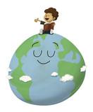 Niño que lee un libro sobre el planeta tierra, está contento leyendo en voz alta y hace a la Tierra felíz. Simboliza la cultura y el amor a la naturaleza