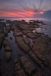 Beautiful Pink Sunset Over the Sea with Rocks in Foreground