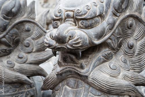 Sculptures mythologiques chinoises en pierre Poster
