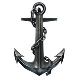 Black iron anchor on black background. 3d render
