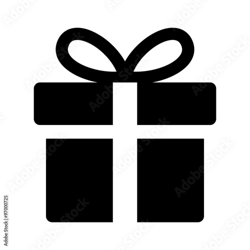 Birthday / Christmas gift box with ribbon bow flat icon for apps and websites