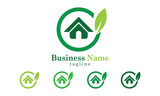 Green House leaf and circle Icon Logo Vector With Five Colors Options