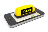 Fototapety Taxi Sign with Mobile Phone and Map