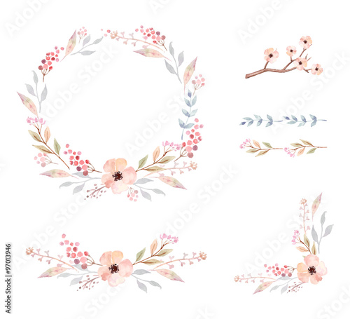 Floral Frame Collection. Set of cute watercolor flowers. - 97013946