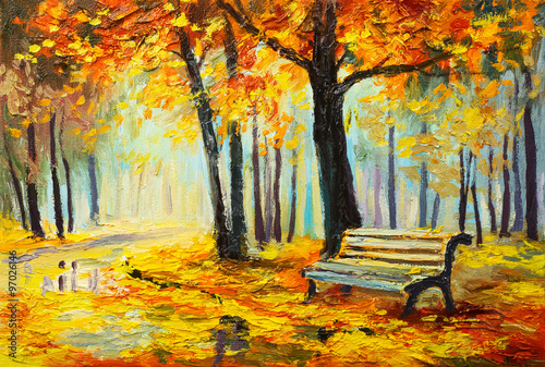 Fotobehang Oranje Oil painting landscape - colorful autumn forest