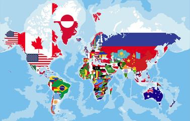 Polityczna mapa świata flagi państw
