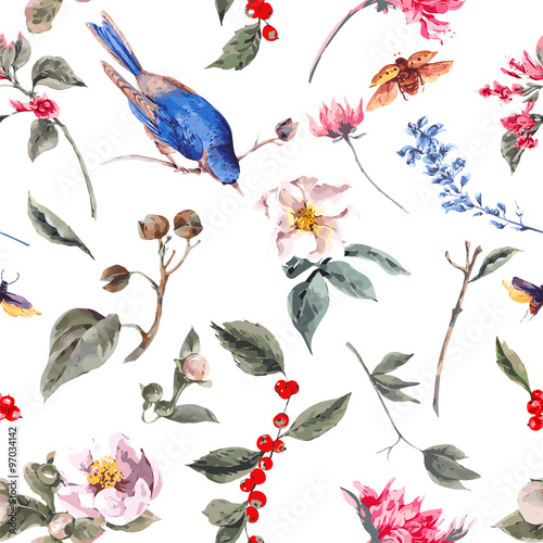 Fototapeta Seamless Background with Pink Flowers, Beetles and Birds