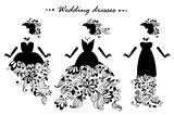 silhouettes of wedding dresses. vector illustration