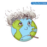 Earth with Pollution, Vector