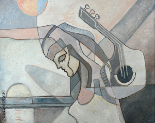 Abstract Painting With Woman and Guitar Plakát