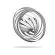 Abstract digital object made of 3d round spiral structures