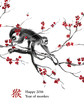 ������, ������: Greeting card year of monkey A monkey walking on a branch of cherry blossom oriental ink painting With Chinese hieroglyph monkey and text Happy 2016 Year of Monkey For your design