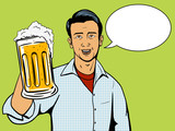 Fototapety Man offers beer cup pop art style vector