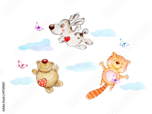 Set of cute animals, cat, puppy, Teddy bear flying in the clouds