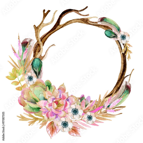 watercolor frame with anemone and herbs - 97087505