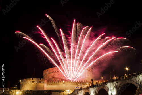 Celebration with fireworks over Castel Sant' Angelo, Rome, Italy Poster