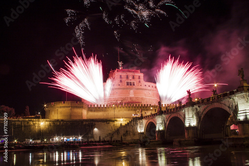 Fireworks from Castel Sant' Angelo, Rome, Italy