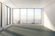 Modern empty room with windows in floor and city view - 97107118