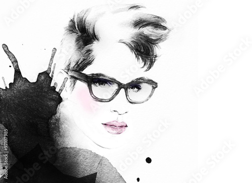 woman portrait with glasses .abstract watercolor .fashion illustration