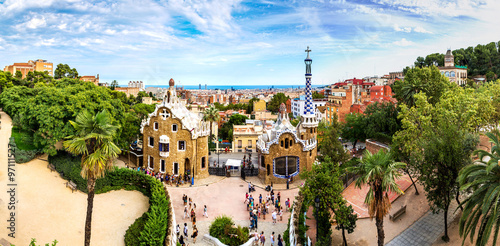 Fototapeta Park Guell in Barcelona, Spain