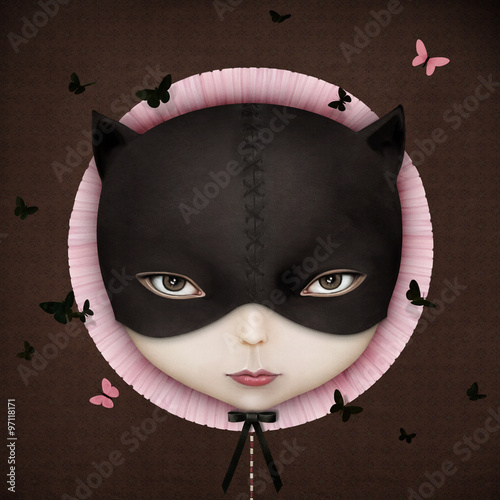 Plakat Conceptual illustration of the girl's face Cat